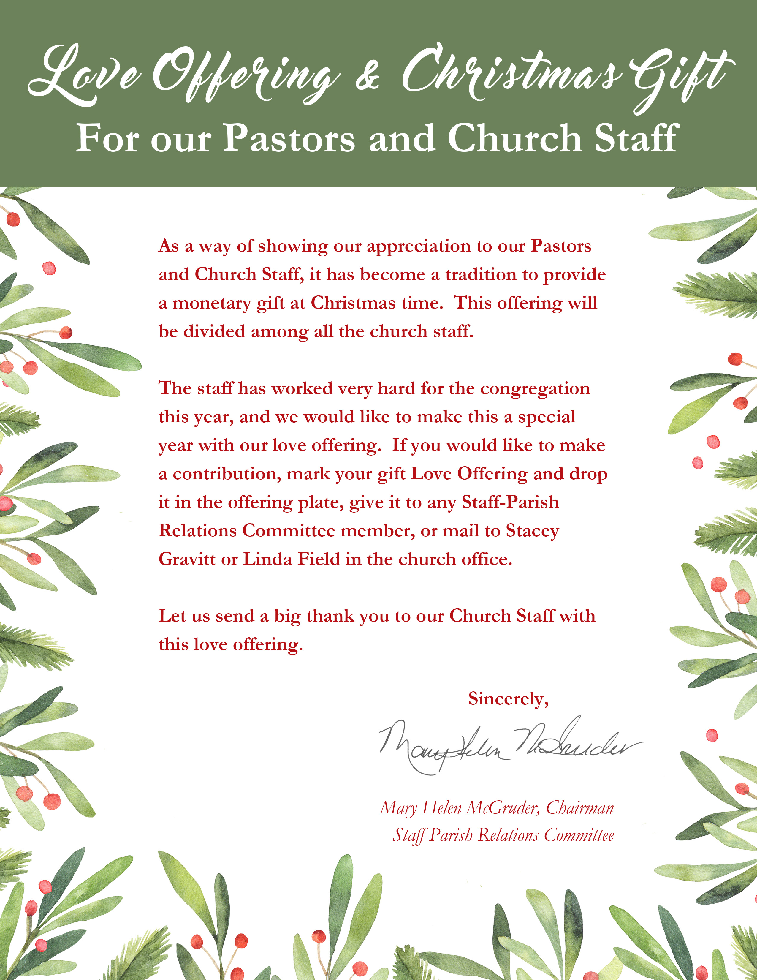 Love Offering & Christmas Gift | Cumming First United Methodist Church
